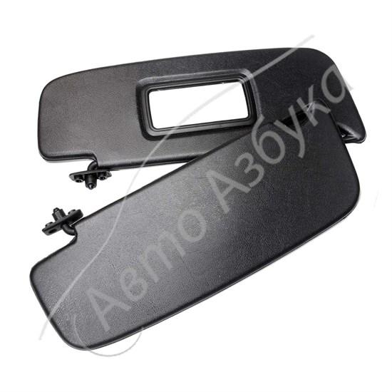 Козырек солнцезащитный с зеркалом, черный комплект на Калина - фото 11480