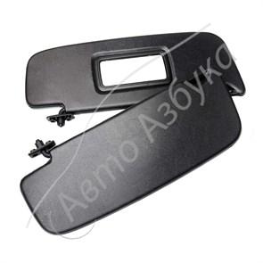 Козырек солнцезащитный с зеркалом, черный комплект на Калина
